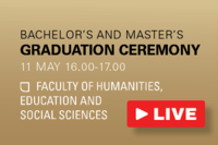 Connect to the live stream of the graduation ceremony of the Faculty of Humanities, Education & Social Sciences